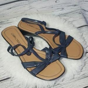 Cabin Creek strappy slip on sandals blue sz 9.5